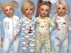 Created By Pinkzombiecupcakes Sunshine Toddler Onesie Collection Created for: The Sims 4 -Available in 4 designs –Unisex -The custom CAS thumbnail is included. Toddler Cc Sims 4, Sims 4 Toddler Clothes, Sims 4 Cc Kids Clothing, Sims 4 Mods Clothes, Sims Mods, Toddler Outfits, Children Clothing, The Sims 4 Bebes, Sims 4 Stories
