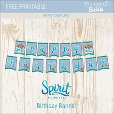 Free Printable Spirit Riding Free Birthday Banner