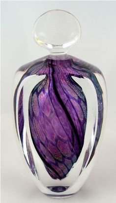 Dichroic Perfume Bottle, Aubergine Murano Glass Flacon.