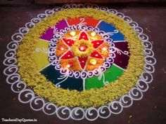 Latest Rangoli Designs for Competitions, Special Rangoli Designs for Diwali Festival with Diyas