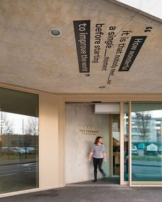 Graphics on Ceiling Design: Studio Wolfstorme, UK//Project:The Foundry// The scale and the direction of type is a subtle pointer to the entrance