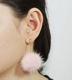 SALE 20% OFF Pom Pom Earrings Mink Fur Pom by SerendipityinSeoul