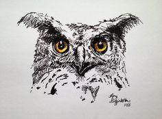Eye Spy - Print (with color) - Ink Animal Drawing, Black and White Animal Drawing, Ink Owl Drawing, Owl Art, Owl Eyes Art, Bird Art on Etsy, $34.02 AUD