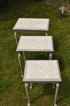Nest of tables with Laura Ashley Josette tops in dove grey