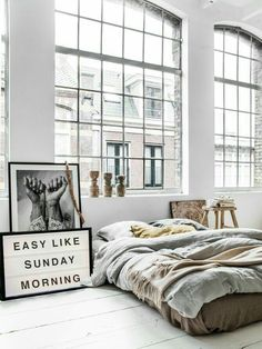 Cozy, loft style bedroom with plenty of windows and natural light ✿̶̥̥ Like this pin? Follow me for more @rosajoevannoy!