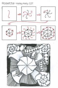 Rosette~Zentangle by Kelley Kelly, Certified Zentangle Teacher.