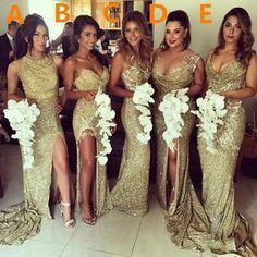 Gold sequin bridesmaid dress,long bridesmaid dress,Mismatched bridesma – Princesssbride