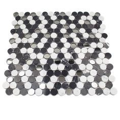 This beautiful combination of marble and glass penny round mosaic, with it's blend of Nero Marquina and White Carrara and mirrored glass, will leave any room with a contemporary and modern feel. Penny Round Tiles, Carrara, Reflection, Mosaic, Farmhouse Bathrooms, Glass, Drinkware, Mosaics, Corning Glass