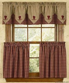 Wine Heart Embroidered Lined Point Curtain Valances
