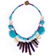 N°163 Turquoise & Purple Liebeskind Statement Necklace  New LUKA Collection out now! $ AUD 299, free global shipping & returns. #statement necklaces, #designer jewellery, #unique jewellery, #handcrafted jewellery, # bespoke jewellery