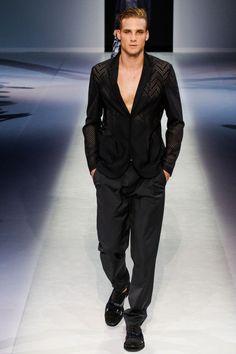 grabyourankles:  model walks forEmporio Armani spring/summer 2014 at Milan Fashion Week