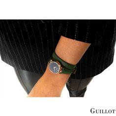 Get elegance and style with our women watch by Guillot #guillotwatches #maisonguillot #timetochange #timetohavefun #timetobeyourself #wristwatch #doublestrap #watchforwomen #greenwatch #blackdial #greenstrap #goldpinkcase #green#black #goldpink #swissmade #savoirfaire #luxury #interchangeable #modular #fashionaccessory #parisian #elegance #watchaddict #borninparis