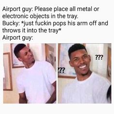 That would be painful tho . - #Bucky #barnes #buckybarnes #marvel #airport #security #ouch #me #civilwar #stucky #avengersinfinitywar #avengers