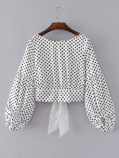 Shop Lantern Sleeve Polka Dot Bow Tie Back Top online. SheIn offers Lantern Sleeve Polka Dot Bow Tie Back Top & more to fit your fashionable needs. Dots Fashion, Trendy Fashion, Fashion Outfits, Women's Fashion, Fashion Styles, Fashion Trends, Polka Dot Bow Tie, Polka Dots, Polka Dot Blouse
