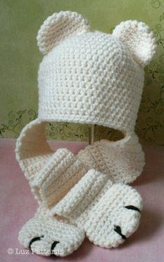 Crochet PATTERN, baby bear hat crochet pattern, baby and toddler hat with ear wa. Bonnet Crochet, Crochet Baby Hats, Crochet Beanie, Crochet Scarves, Crochet For Kids, Baby Knitting, Crocheted Hats, Booties Crochet, Crochet Gloves