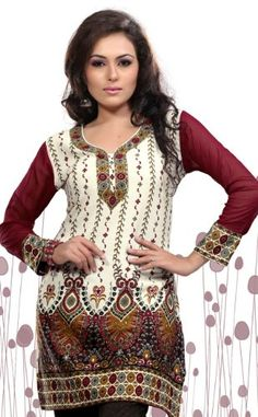 Indian Tunic Top Womens / Kurti Printed Blouse India Clothing (Off White) for only $24.99 You save: $7.01 (22%) + Free Shipping