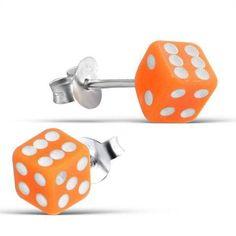Acrylic Die Dice Orange Studs - Silver Earrings