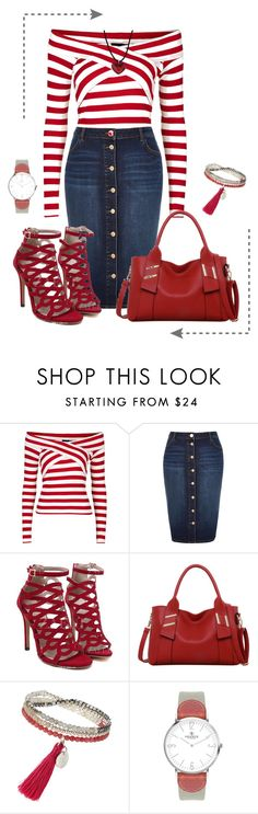 """Red!"" by ebramos ❤ liked on Polyvore featuring Topshop, River Island, LineShow, VIcenza and Baccarat"