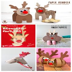 manualidades-navidad-niños Toy Craft, Craft Box, Winter Activities, Toddler Activities, Paper Toys, Paper Crafts, Finger Puppets, Reindeer, Free Printables