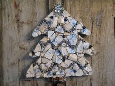 Blue and white mosaic Christmas tree.