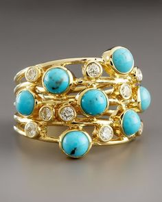 Ippolita Turquoise & Diamond Constellation Ring. Available at London Jewelers.