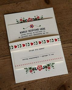 Wedding Invitation with RSVP Card, Belly Band & Envelope x 50
