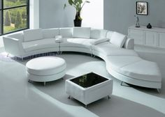 Modern Furniture White Leather Sectional Sofa with Ottoman and Mini Bar-table Set - http://www.furniturendecor.com/modern-furniture-white-leather-sectional-sofa-with-ottoman-and-mini-bar-table-set/