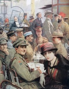 The Cafe de la Paix, Paris, during the First World War, after a work by Louis Remy Sabattier, from 'L'Illustration', published in 1918