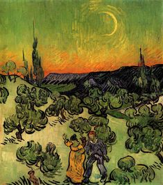 Landscape with Couple Walking and Crescent Moon, 1890, Vincent van Gogh Size: 49.5x45.5 cm Medium: oil on canvas