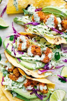 Grilled Shrimp Tacos With Creamy Cilantro Sauce Recipe by Tasty – Herzhaft Shrimp Taco Recipes, Sauce Recipes, Beef Recipes, Cooking Recipes, Shrimp Taco Sauce, Shrimp Taco Seasoning, Diner Recipes, Mexican Food Recipes, Fun Recipes