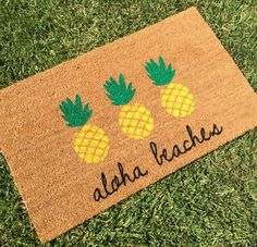 Aloha Beaches Pineapple Doormat / Pineapple Decor / Funny Welcome Mat / Custom, Personalized Doormat / Outdoor Doormat / Cute Doormat by NickelDesignsShop on Etsy https://www.etsy.com/listing/397883605/aloha-beaches-pineapple-doormat
