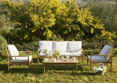 Salon de jardin bas en acacia FSC 4 places MOVEA | Canapes and Salons