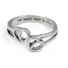 Promise Ring Double Hearts My Heart Hext to Yours Best Gift for Girlfriend, Boyfriend Stainless Steel