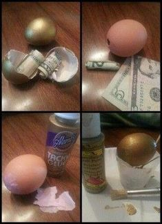 Hide money in a hollowed out egg shell. Creative Money Gifts, Cool Gifts, Ways To Hide Money, Don D'argent, Easter Crafts, Christmas Crafts, Gag Gifts, Birthday Gifts, Birthday Money