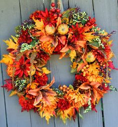 Fall Harvest Wreath by WreathArtistry on Etsy