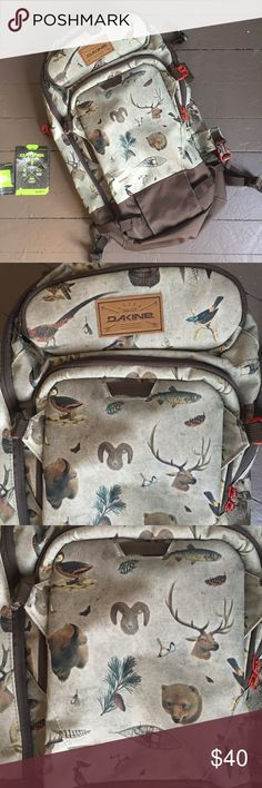 Dakine snowboard backpack book bag animal print Rare Dakine backpack with snowboard and ski holders, laptop sleeve, and goggle compartment. Used once on a hike. Excellent condition. Bison, elk, deer, bear, and other animals printed all over. Very cool, I just have too many packs. Dakine Bags Backpacks