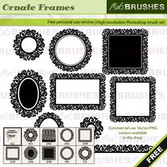 Free frame Photoshop brushes. Get them here: http://www.melsbrushes.co.uk/?p=1950