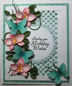 I love seeing images of Butterflies and Orchids they are such a beautiful combination. and so I made some orchids using the Marianne Des. Spellbinders Cards, Stampin Up Cards, Handmade Greetings, Greeting Cards Handmade, Butterfly Cards, Flower Cards, Marianne Design Cards, Anna Griffin Cards, Fancy Fold Cards