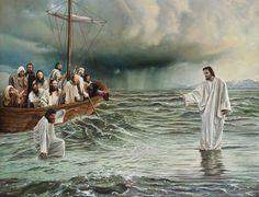 Walking on Water - Savior Jesus Christ by Ben McPherson Pictures Of Christ, Bible Pictures, Pictures Of God, Jesus Christ Images, Amazing Pictures, Image Jesus, Jesus Walk On Water, Peter Walks On Water, Miracles Of Jesus
