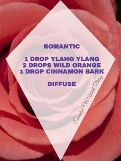 15 BRAND NEW DOTERRA ESSENTIAL OIL DIFFUSER BLENDS ROMANTIC: 2 DROP YLANG YLANG 2 DROPS WILD ORANGE 1 DROP CINNAMON BARK For more tips and Facebook classes,  visit:  http://www.facebook.com/groups/essentialoilclasses