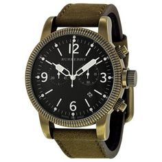 Relógio Burberry Endurance Chronograph Black Dial Olive Leather Strap Mens Watch BU7811 #Relógio #Burberry