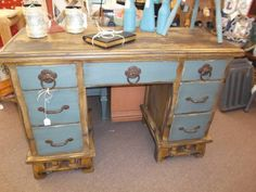 $325 - Rustic 7 drawer desk with two tone finish - large drawer pulls make opening drawers a snap! A great look for any room.***** In Booth F4 at Main Street Antique Mall 7260 E Main St (east of Power RD on MAIN STREET) Mesa Az 85207 **** Open 7 days a week 10:00AM-5:30PM **** Call for more information 480 924 1122 **** We Accept cash, debit, VISA,