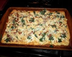 Pampered Chef Spinach Carbonara Pizza