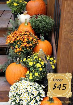 2014 Thanksgiving porch pumpkin bouquets decorations - front door steps  #2014 #Thanksgiving