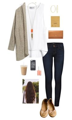 """H is for Hoops!!"" by gabbbsss ❤ liked on Polyvore featuring J Brand, Bling Jewelry, Rebecca Minkoff, Dogeared, Kendra Scott, Essie, FOSSIL and Tory Burch"