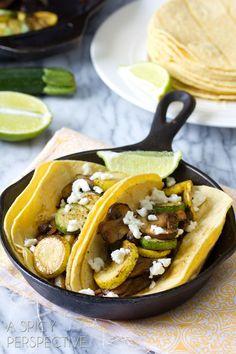 Veggie Taco Recipe with Summer Squash and Mushrooms   ASpicyPerspective.com