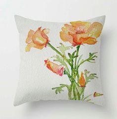 Poppies California Orange bunch Throw PILLOW cover tangerine tango orange cream bouquet Fine Art Home Decor watercolor flowers