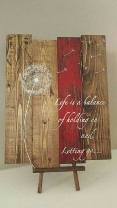 Reclaimed wood wall art - Life is a balance of holding on - Reclaimed pallet art/u2026