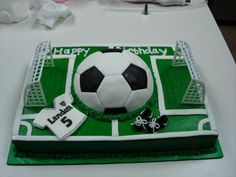 soccer cake- i do like this one but somehow either instead of the ball somehow incorperate the logo..