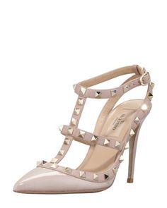 Rockstud Patent T-Strap Pump, Poudre by Valentino at Neiman Marcus.